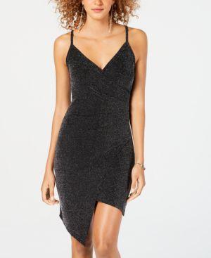 ALMOST FAMOUS Juniors' Asymmetrical Faux-Wrap Dress in Sliver/Black