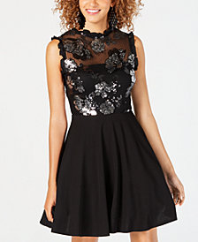 City Studios Juniors' Embellished Mesh Fit & Flare Dress