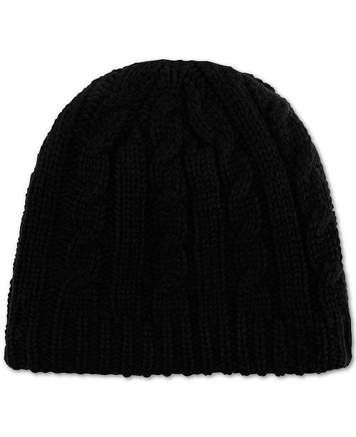 ... Tommy Hilfiger Chunky Fleece-Lined Cable Knit Hat ... e1754a7999a