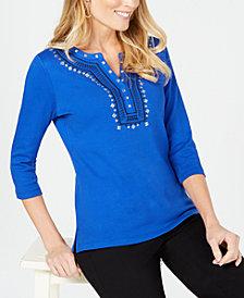 Karen Scott Petite Embroidered Henley Top, Created for Macy's