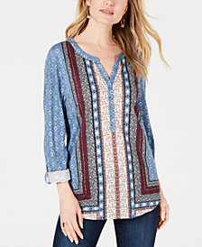 Style & Co Mixed-Print Roll-Tab-Sleeve Top, Created for Macy's