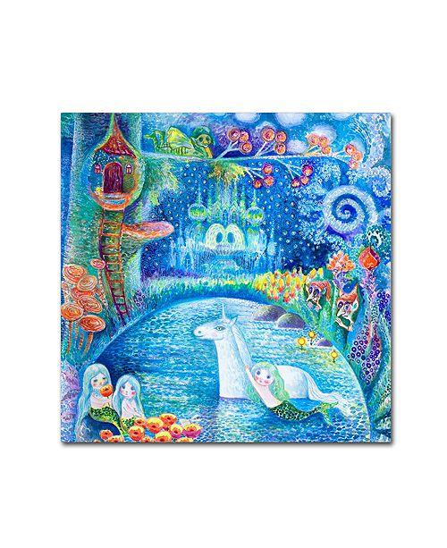 """Trademark Global Oxana Ziaka 'Bathing Of Unicorn' Canvas Art - 14"""" x 14"""" x 2"""""""