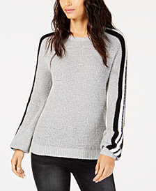 I.N.C. Varsity-Striped Eyelash-Trim Sweater, Created for Macy's