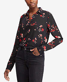 Ralph Lauren Petite Floral-Print Shirt