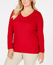 Karen Scott Plus Size Cotton Marled-Knit Tunic Top, Created for Macy's