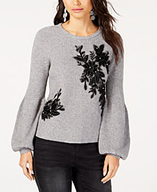 I.N.C. Appliqué Balloon-Sleeve Sweater, Created for Macy's