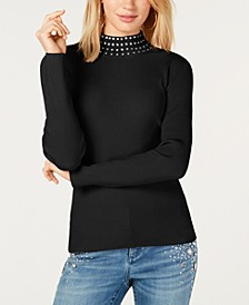 I.N.C. Petite Studded Mock-Neck Sweater, Created for Macy's