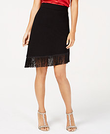 I.N.C. Asymmetrical Fringe-Hem Skirt, Created for Macy's