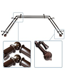 """Bisque 13/16"""" Bay Window Double curtain rod 20""""-36"""", 38""""-72"""""""