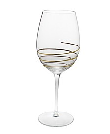 Vivid Water Glasses With 14K Gold Swirl Design- Set Of 6