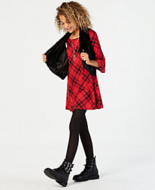 Sequin Hearts Big Girls 3-Pc. Fleece Vest and Plaid Dress Set