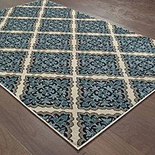"Oriental Weavers Linden 7816B Ivory/Blue 2'3"" x 7'6"" Runner Area Rug"
