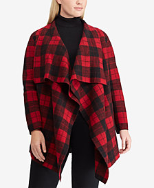 Lauren Ralph Lauren Plus Size Buffalo Plaid Wool Shawl Sweater