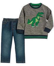 Kids Headquarters Baby Boys 2-Pc. Fleece Dino Sweatshirt & Jeans Set