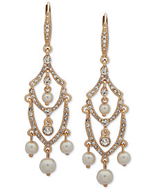 Anne Klein Gold-Tone Crystal & Imitation Pearl Chandelier Earrings