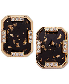 Anne Klein Gold-Tone Pavé & Stone Square E-Z Comfort Clip-On Button Earrings