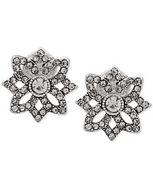 Anne Klein Silver-Tone Crystal Openwork Clip-On Stud Earrings