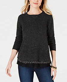 Style & Co Petite Mixed-Material Layered-Look Sweater, Created for Macy's