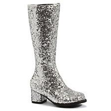 Silver Glitter Little Girls Gogo Boots