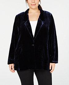 Eileen Fisher Plus Size Notch-Collar Velvet Blazer