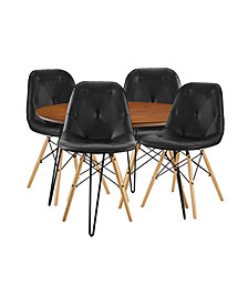 5 Piece Round Hairpin Dining Set with 4 Eames Style Chair -OVER MAX