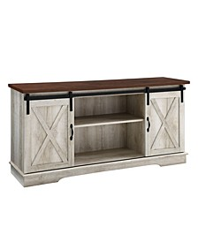 """58"""" Farmhouse TV Stand with Sliding Barn Doors - Brown Top with White Oak Body"""