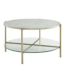 32 inch Round Coffee Table in White Faux Marble with Glass Shelf and Gold Legs