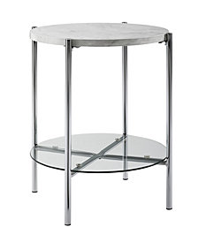 20 inch Round Side Table in White Faux Marble with Glass Shelf and Chrome Legs