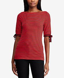 Lauren Ralph Lauren Ribbon-Sleeve Striped Boatneck Top