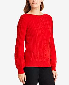 Lauren Ralph Lauren Cable-Knit Puffed-Sleeve Sweater