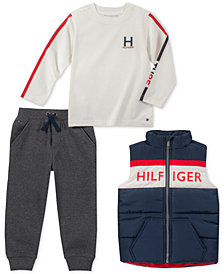 Tommy Hilfiger Baby Boys 3-Pc. Vest, Logo T-Shirt & Jogger Pants Set