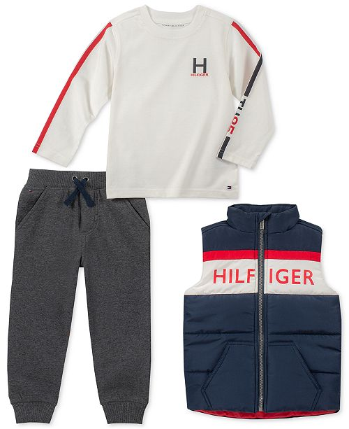 39d80075 Tommy Hilfiger Baby Boys 3-Pc. Vest, Logo T-Shirt & Jogger Pants Set ...