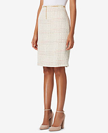 Tahari ASL Belted Bouclé Straight Skirt