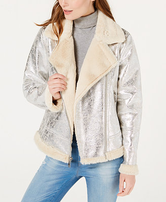 Faux Shearling Moto Jacket, Created For Macy's by Tommy Hilfiger