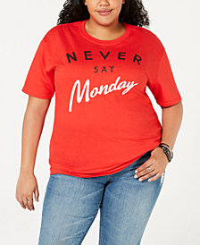Hybrid Plus Size Cotton Never Say Monday T-Shirt
