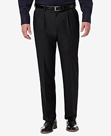 Men's Premium Comfort Stretch Classic-Fit Solid Pleated Dress Pants