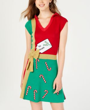 Hooked Up by Iot Juniors' Present Sweater Dress - Christmas Red