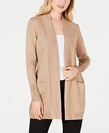 JM Collection Snap-Sleeve Metallic Cardigan Sweater, Created for Macy's