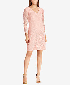 Lauren Ralph Lauren Lace V-Neck Dress