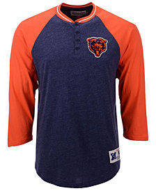 Mitchell & Ness Men's Chicago Bears Four Button Henley T-Shirt