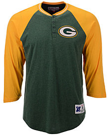 Mitchell & Ness Men's Green Bay Packers Four Button Henley T-Shirt