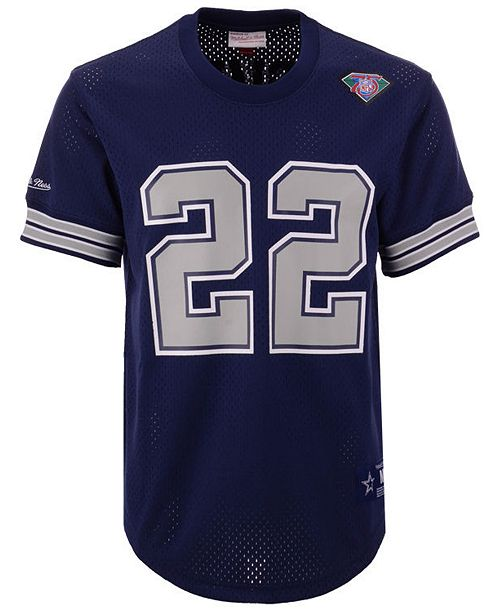new styles ba610 88448 Men's Emmitt Smith Dallas Cowboys Mesh Name and Number Crewneck Jersey