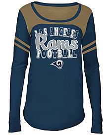 5th & Ocean Los Angeles Rams Sleeve Stripe Long Sleeve T-Shirt, Girls (4-16)