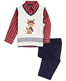 TFW Baby Boys 3-Pc. Reindeer Sweater Vest, Plaid Shirt & Pants Set