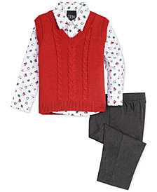 TFW Baby Boys 3-Pc. Cable-Knit Sweater Vest, Printed Shirt & Pants Set