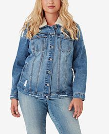 Jessica SimpsonTrendy Plus Size Cotton Reagan Denim Jacket With Faux-Sherpa Collar