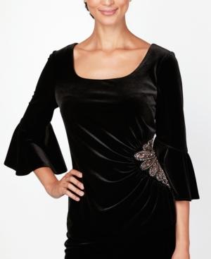 1930s Style Blouses, Shirts, Tops | Vintage Blouses Alex Evenings Velvet Embellished Top $149.00 AT vintagedancer.com