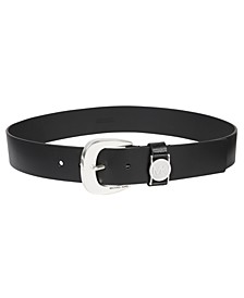 Leather Belt with MK Cutout Logo Disc Belt