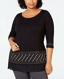 Belle by Belldini Plus Size 3/4-Sleeve Studded Tunic