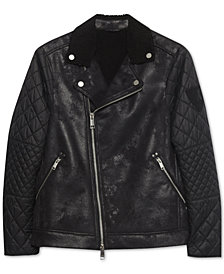Armani Exchange Mens Faux-Shearling Quilted Jacket